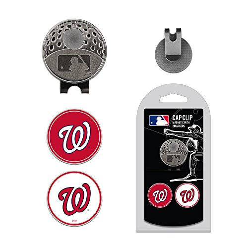 Team Golf MLB Washington Nationals Golf Cap Clip with 2 Removable Double-Sided Enamel Magnetic Ball Markers, Attaches Easily to Hats (Washington Nationals Green Hat)