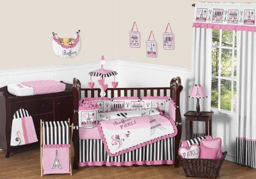 Sweet Jojo Designs 9-Piece Pink, Black and White Stripe Paris Baby Girl Bedding French Eifell Tower Crib Set Black Friday & Cyber Monday 2018