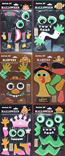 Pumpkin Decorating Kit Push In No Carve DIY Fall Halloween Thanksgiving For Large Pumpkins (Set of (Halloween Pumpkin Decorating Ideas Adults)