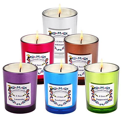 - AngelLove Scented Candle, Candle Gift Set 100% Natural Eco-Friendly Soy Wax-Peppermint, Lavender, Apple, Eucalyptus, Rosemary and Frankincense(6 x 2.5 Oz) Charming and The Most Popular Scents