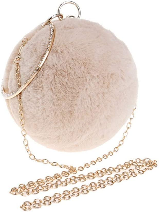 Color : Pink FeliciaJuan Suede Evening Bag Spherical Plush Womens Clutches Evening Bag Clutch Purse Bags Special Occasion Evening Handbags