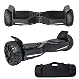 WorryFree Gadgets All Terrain Rugged 6.5 Inch Wheels Hoverboard Off-Road Smart Self Balancing Electric Scooter With built-In Bluetooth Speaker LED Lights UL2272 Certified Bundle with Carrying Case