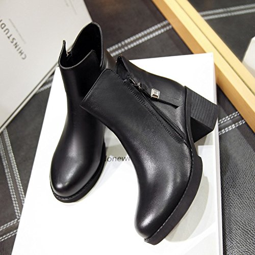 boots thick 120W pointed ankle BLACKDOWN Women's leather a for tassel NSXZ comfortable FwtzqP