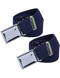 Kids Adjustable Magnetic Belt for Boys - Girls Elastic Stretch Buckle Belts by WELROG (Navy Blue2)