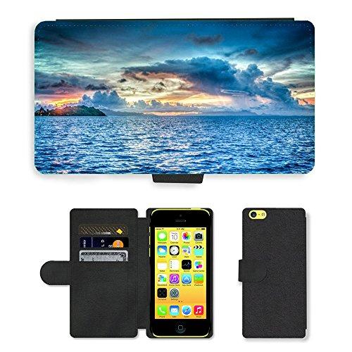 PU Leather Cover Custodia per // M00421579 Bora Bora Polynésie française Sunset // Apple iPhone 5C