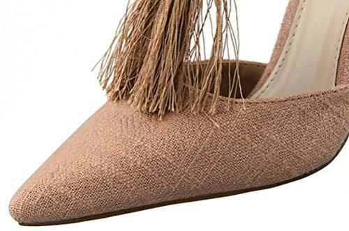 Anbover Mujeres Sexy Tobillo Correa Tassel High Stiletto Talón Vestido Sandalias De Color Caqui