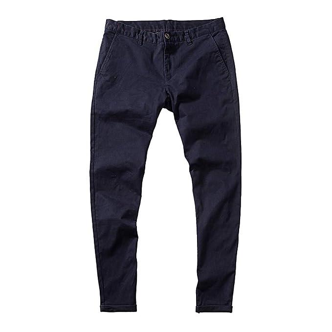 Hombres Moda Puro Color Bolsillo Elástico Casual Algodón Pantalon Lápiz  Pantalones 71d254b75049