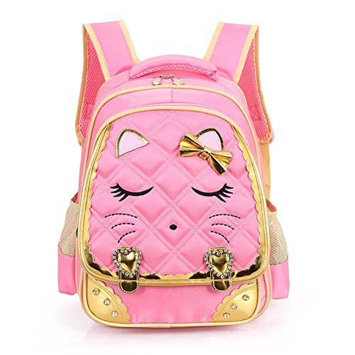 Efree Cute Cat Face Bow Diamond Bling Waterproof Pink School Backpack Girls Book Bag (Large, - With Kitty Bow