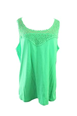 Inc International Concepts Plus Size Green Crochet Tank Top (2x, Pear Green)