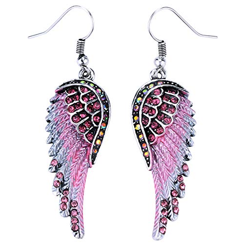 - Szxc Jewelry Women's Crystal Guardian Angel Wings Dangle Earrings Christmas Biker Jewelry