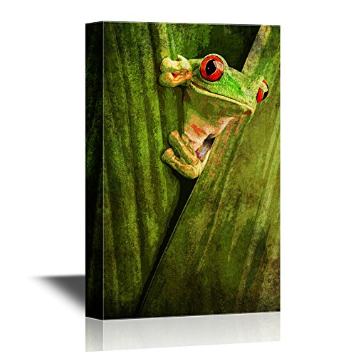 - wall26 - Canvas Wall Art - Curious Red Eyed Tree Frog Hiding in Green Background Leafs - Gallery Wrap Modern Home Decor | Ready to Hang - 16x24 inches