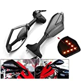 Motorcycle Amber LED Turn Signal Light Blinker Indicator Side Marker Integrated Carbon Fiber Look Racing Rearview Mirror for Kawasaki Ninja 250 500 Zx 6r 10r 12r Zx-14 Zx-rr Zx600