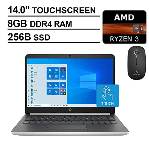 2020 Newest HP 14 inch Touchscreen Laptop| AMD Ryzen 3 3200U (Beats i5-7200U)| 8GB DDR4 RAM| 256GB SSD| WiFi| Bluetooth| HDMI| Windows 10 Home S+ NexiGo Wireless Mouse Bundle