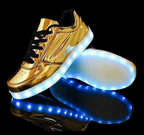 (Present:kleines Handtuch)JUNGLEST® 7 Farben LED Leuchtend Aufladen USB Aufladen Sport Schuhe Paare Schuhe Herbst und Winter Sport Schuhe Freizeitschuhe Leucht Laufende Unis Goldene
