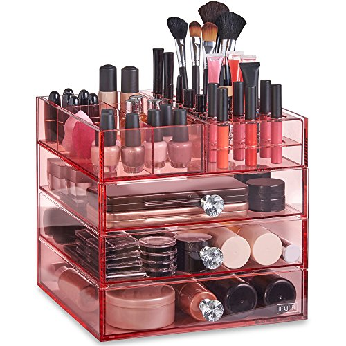 Beautify Large 4 Tier Blush Pink Acrylic Cosmetic Makeup