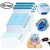 Reusable Mesh/Produce Bags (Lightweight, See-Through by PrettyCare) Superior Double-Stitched Strength Bags with Tare Weight on Tags for Shopping & Storage of Fruit, Veggies, Grocery, Tools & Toys