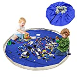 BELLESTYLE Toy Storage Bag and Kids Play Mat Toys Organizer, Cotton Canvas Portable Large Size Easy Tidy Play & Storage Bag - Children's Toys for Fast Cleanup! (Dark Blue)