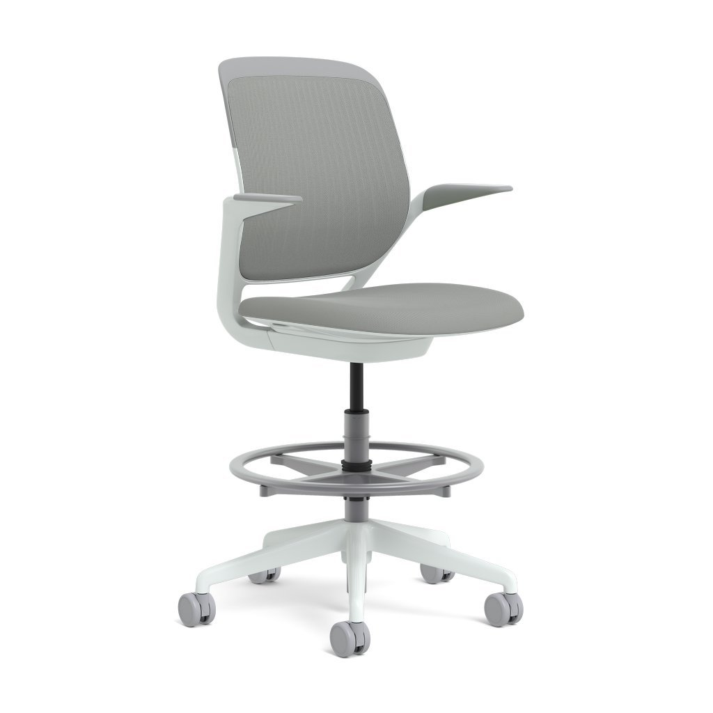 Steelcase Cobi Swivel-Base Stool: Standard Carpet Casters - Arms with Soft Arm Caps