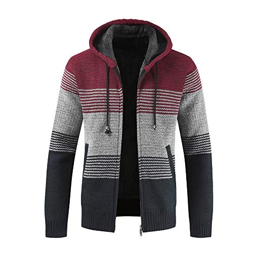 LEXUPA Men's Winter Cardigan Striped Zipper Outwear Tops Sweater Coats Fashion Hoodies Daily Sweatshirts (XXX-Large,Red)