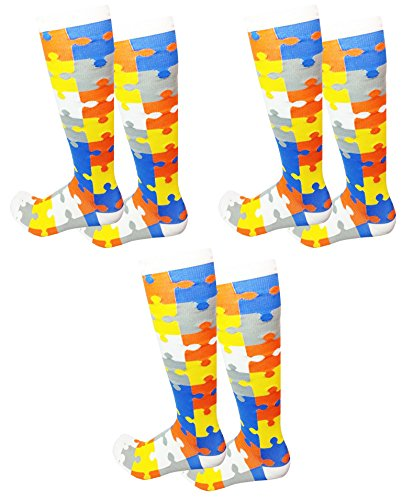Biscayne Jigsaw Puzzle 3-Pack Knee High Compression Socks - Shipping Iceland Us To From