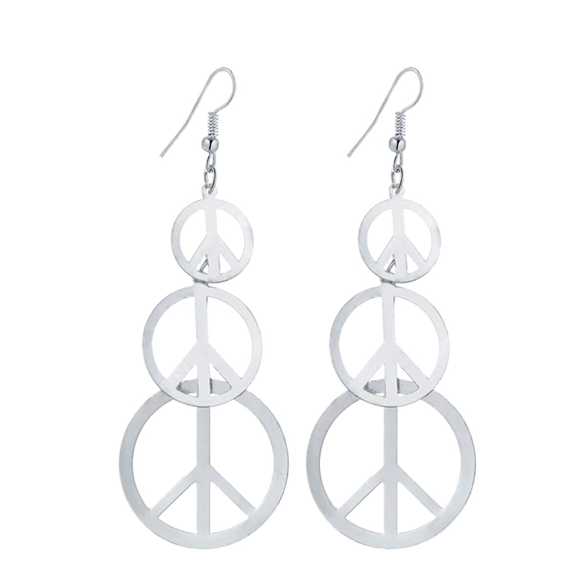 IDB Delicate Filigree Dangle Long Anti war//Peace Sign Hook Earrings Available in Silver and Gold Tones