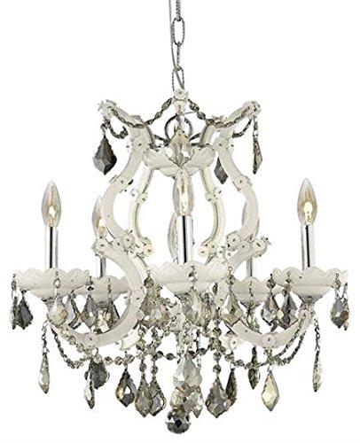 - Karla White Traditional 6-Light Hanging Chandelier Heirloom Handcut crystal in Golden Teak -2380D20WH-GT-RC--20