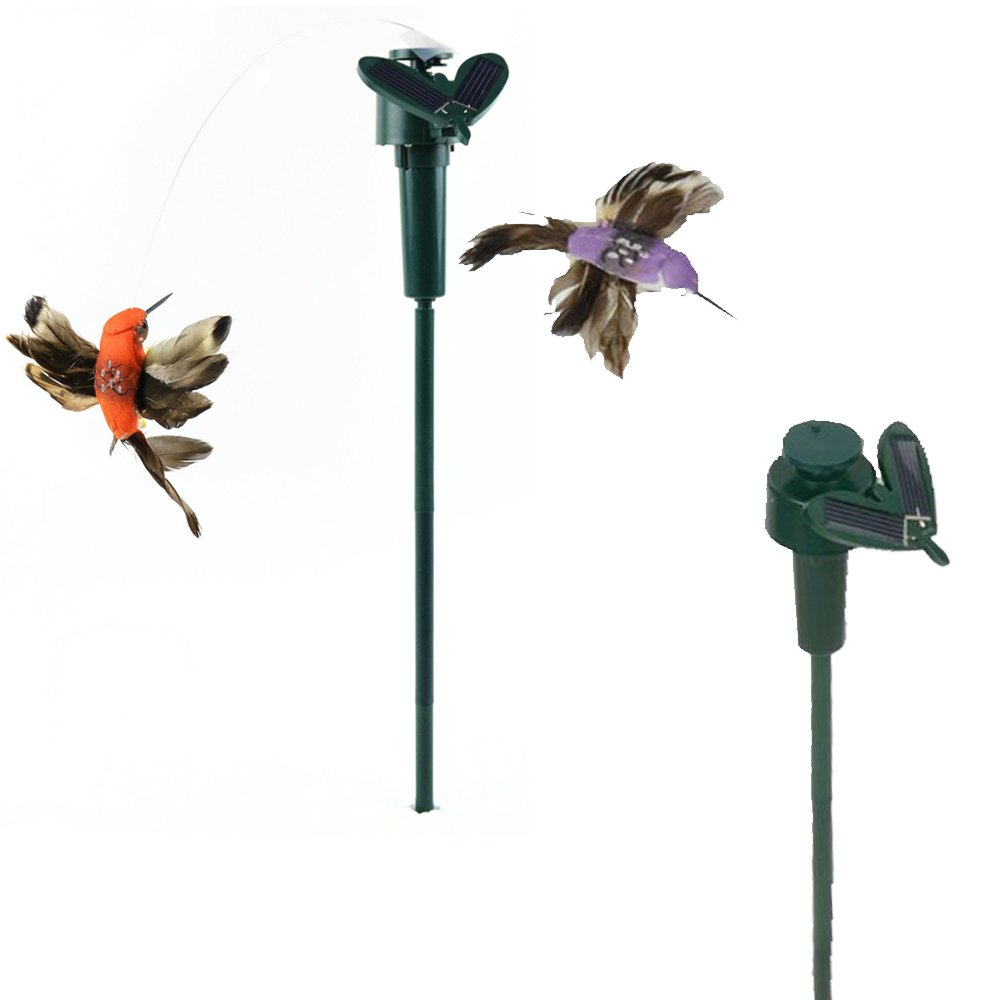 iLory Pack of 2 Solar and Battery Powered Flying Wobble Fluttering Hummingbird for Patio Garden Yard Stake Plants Flowers Wedding Outdoor Decor Random Color