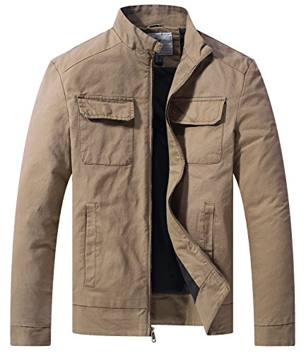 WenVen Men's Fall Casual Army Lightweight Jacket(Khaki,Large)