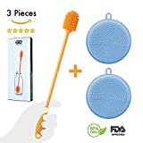 Amazing Elf Silicone Bottle Cleaning Brush 12'' & Non-Porous Multi-Purpose Silicone Scrubber Sponge Pack by BPA Free FDA Approved Food-Grade Anti-Bacterial