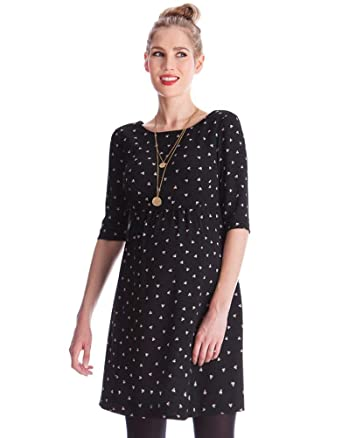 82a57e53015 Seraphine Women s Black Dot Woven Maternity Dress at Amazon Women s ...
