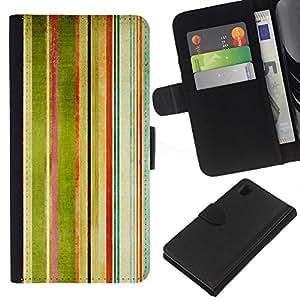 KingStore / Leather Etui en cuir / Sony Xperia Z1 L39 / Rayas Pintura de la acuarela del arco iris Arte