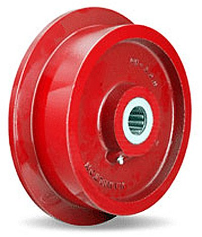 Single-Flanged-Track-Wheel-10-Diameter-x-2-12-Face-x-3-14-Hub-length-with-1-12-Roller-Bearing