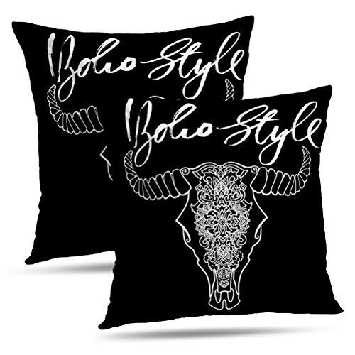 Hdmly Bohemian Cow Skull Decorative Throw Pillow Cover Cushion Covers Mandala Tattoo Cow Head Ornament Buffalo Skull Native Indian Set of 2 Pillowcase for Home Decor Couch Sofa 18