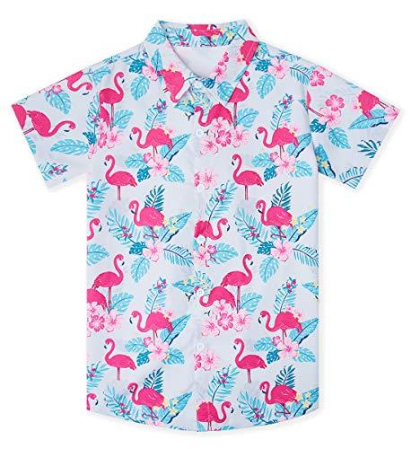 uideazone Big Boys' Cotton Dress Shirt Casual Tropical Button Down Short Sleeve Cartoon Flamingo Print Top Kids Cool T-Shirt