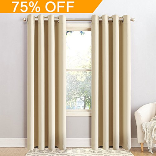 BLC 2 Panels Thermal Insulated Solid Grommet 52-Inch-by-63-Inch Blackout Curtains, Beige