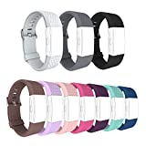 for Fitbit Charge 2 Replacement Band Soft Silicone Adjustable Strong Attach and Secure Closing Wristband by GHIJKL-10 Pack