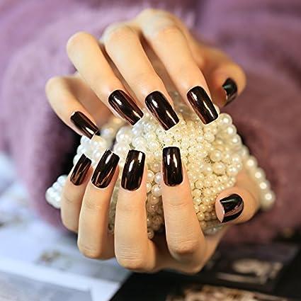 yunail 24pcs oscuro espejo reflectante uñas postizas largo cuadrado Full Artificial diseños Nail Tips con 1pc