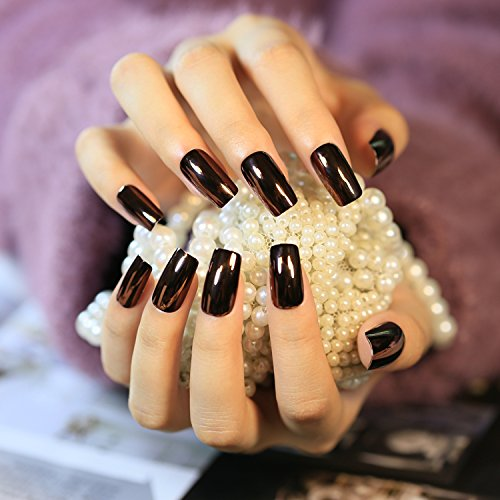 Halloween 24pcs Dark Mirror Reflective False Nails Long Square Full Artificial Designs Nail Tips with 1pc Glue