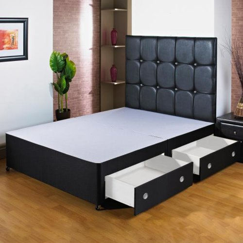 Hf4you 5Ft Kingsize Black Divan Bed Base - 2 Drawers - Foot End - Small Black Faux Leather H/B
