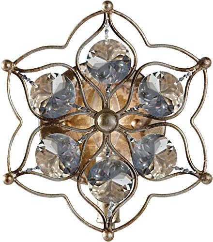 - Feiss WB1585BUS Leila Crystal Wall Sconce Lighting, Satin Nickel, 1-Light (8
