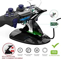 PS4 Controller Charger, Compatible with PS4 Pro / PS4 Slim / PS4 Dual Controller Charging Station Dock Stand, Come with LED Indicator and IC ...