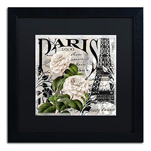 Paris Blanc II by Color Bakery, Black Matte, Black Frame 16×16-Inch