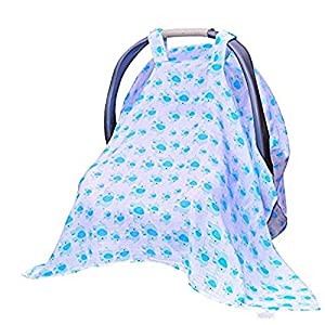 Baby Car Seat Covers To Protect From Bugs & Dust. XL Soft Muslin Cotton Canopy For Boys Blue.