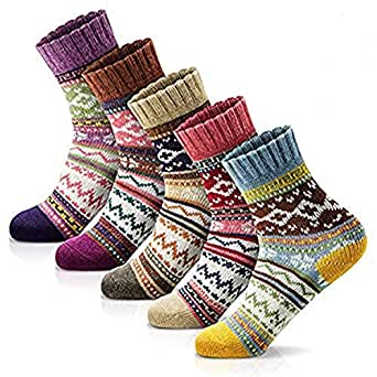 Womens Winter Socks Girls Thick Wool Halloween Dress Socks Vintage Cute Colorful Christmas sock for Women Breathable Comfy Casual Socks 5 Pack with Gift Box (Size 5-9)