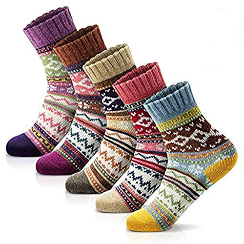 Womens Winter Socks 5 Pairs Thick Wool Soft Warm Casual Socks Vintage Socks for Women and Men, Free Size (Multi Color 4)