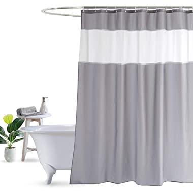 UFRIDAY Shower Curtain Grey and White 72 x 72 Inch, Fabric Shower Curtain, Waterproof