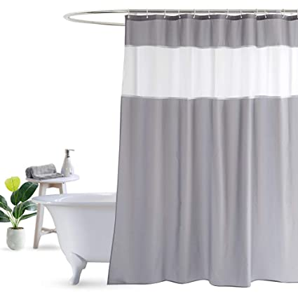 UFRIDAY White And Gray Shower Curtain 72 Inch By 78 Modern