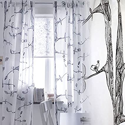Pair Of Tree And Bird Pattern Curtains Each Panel Measures 98quot Long 57quot