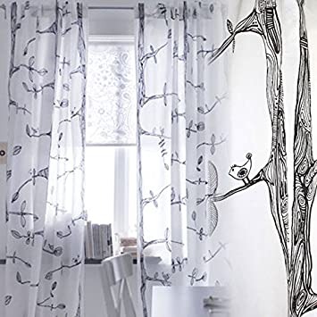 Kitchen Curtains bird kitchen curtains : Amazon.com: Pair of Tree and Bird Pattern Curtains , Each Panel ...