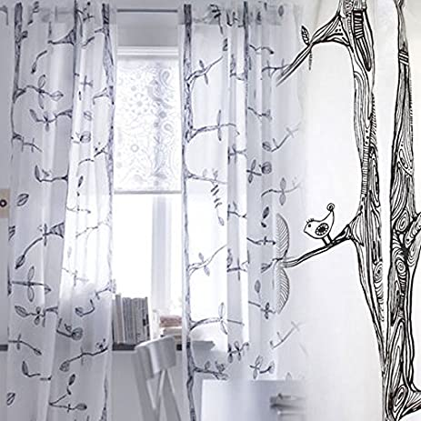 Pair Of Tree And Bird Pattern Curtains , Each Panel Measures 98u0026quot; Long  And 57u0026quot